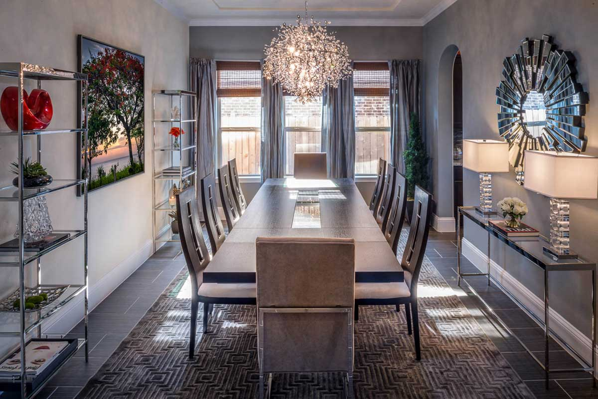 dining room with tree branch shadow chandelier