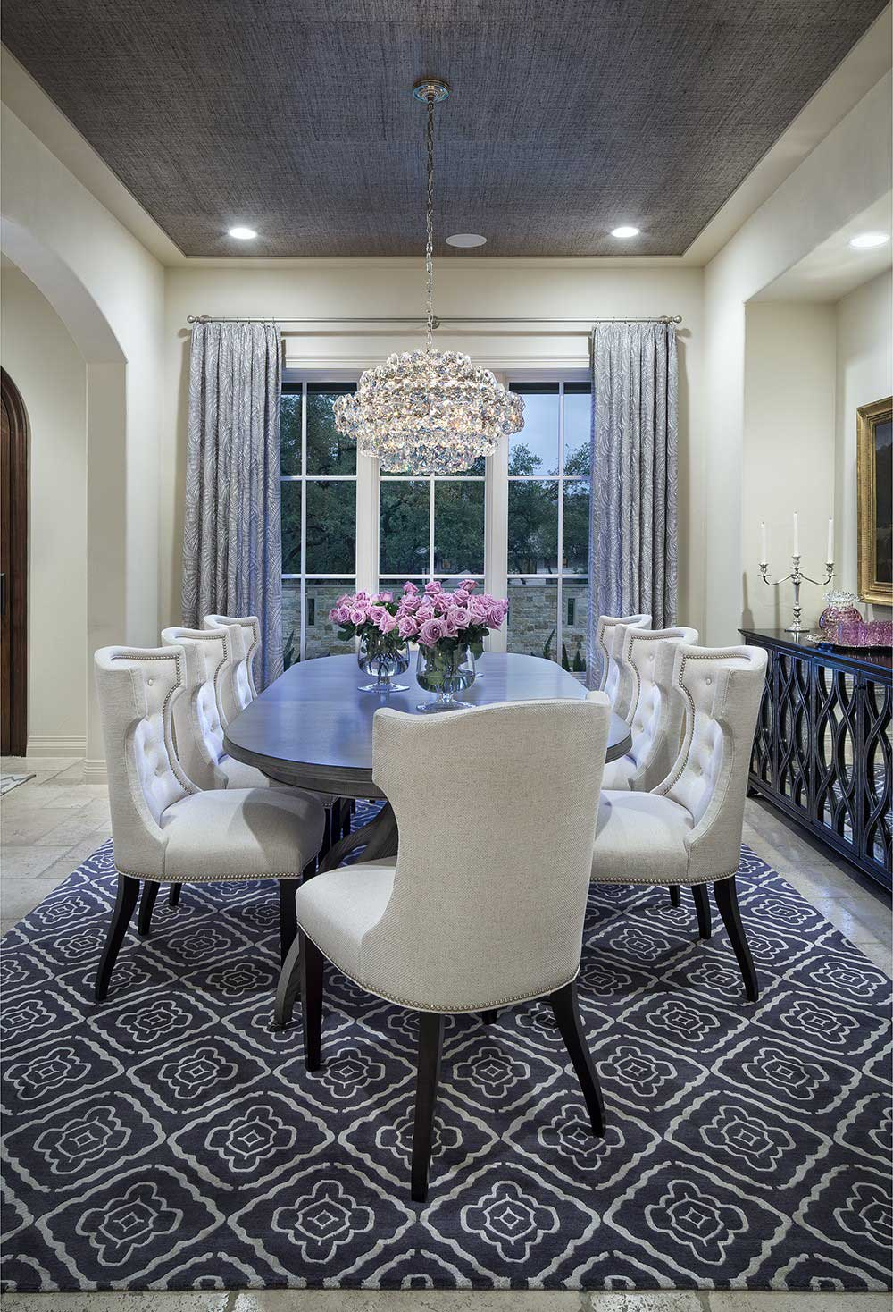 Gray And White Dining Room With Crystal Chandelier Recessed Lighting
