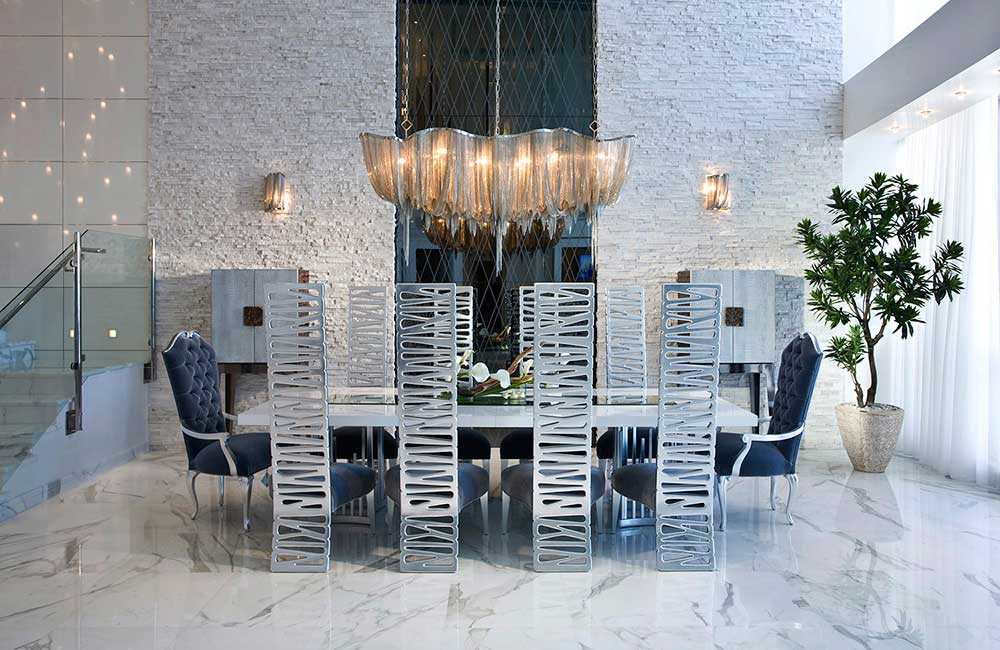 modern dining room with hudson mother chandelier