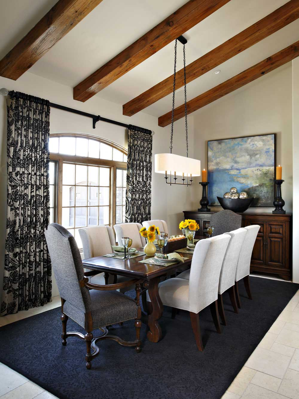 modern rustic dining room with linear pendant light