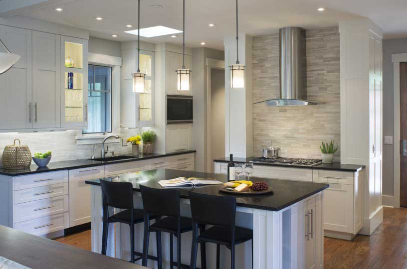 kitchen with white tube pendant light