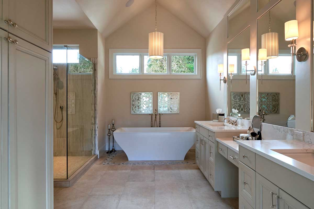 bathroom with wall sconces and pendant lighting.com