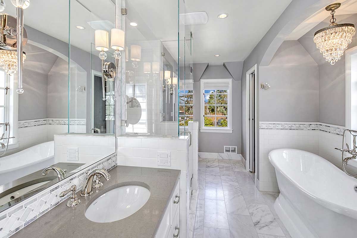bathroom with modern faceted glass mini chandelier