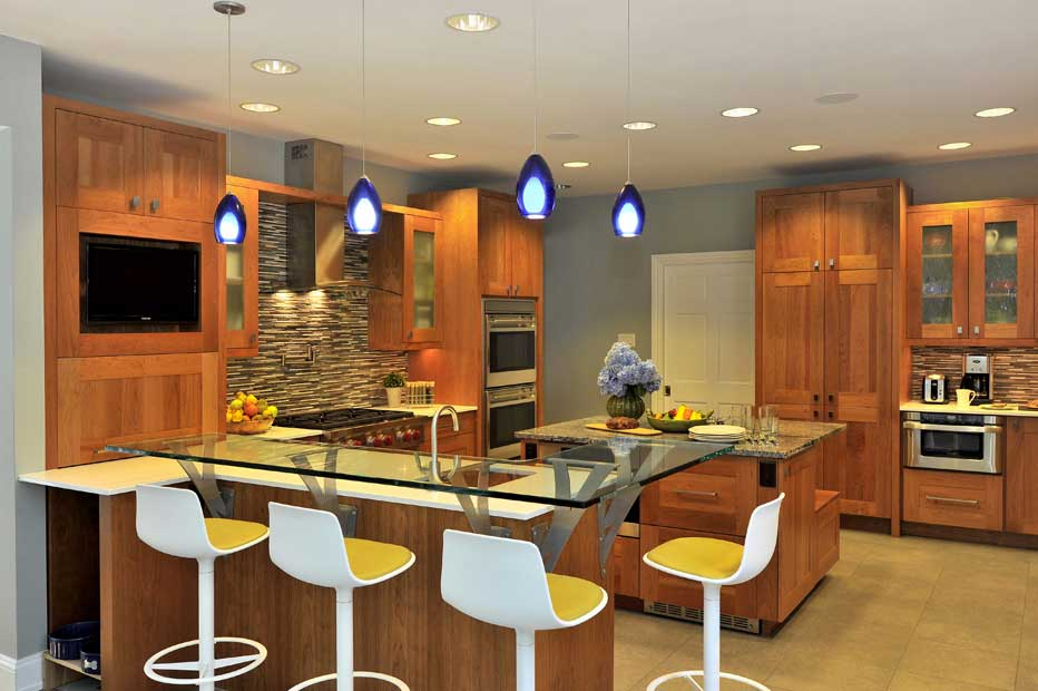 kitchen with cobalt blue pendant light