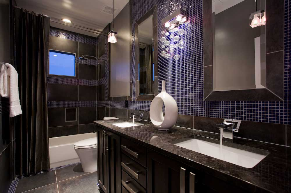 small bathroom with wall sconce chandelier