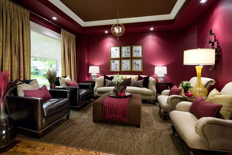 dark purple living room with orb pendant lights
