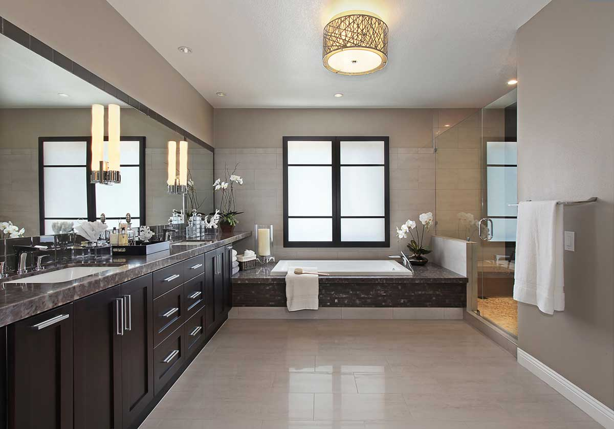 contemporary bathroom with drum pendant ceiling light