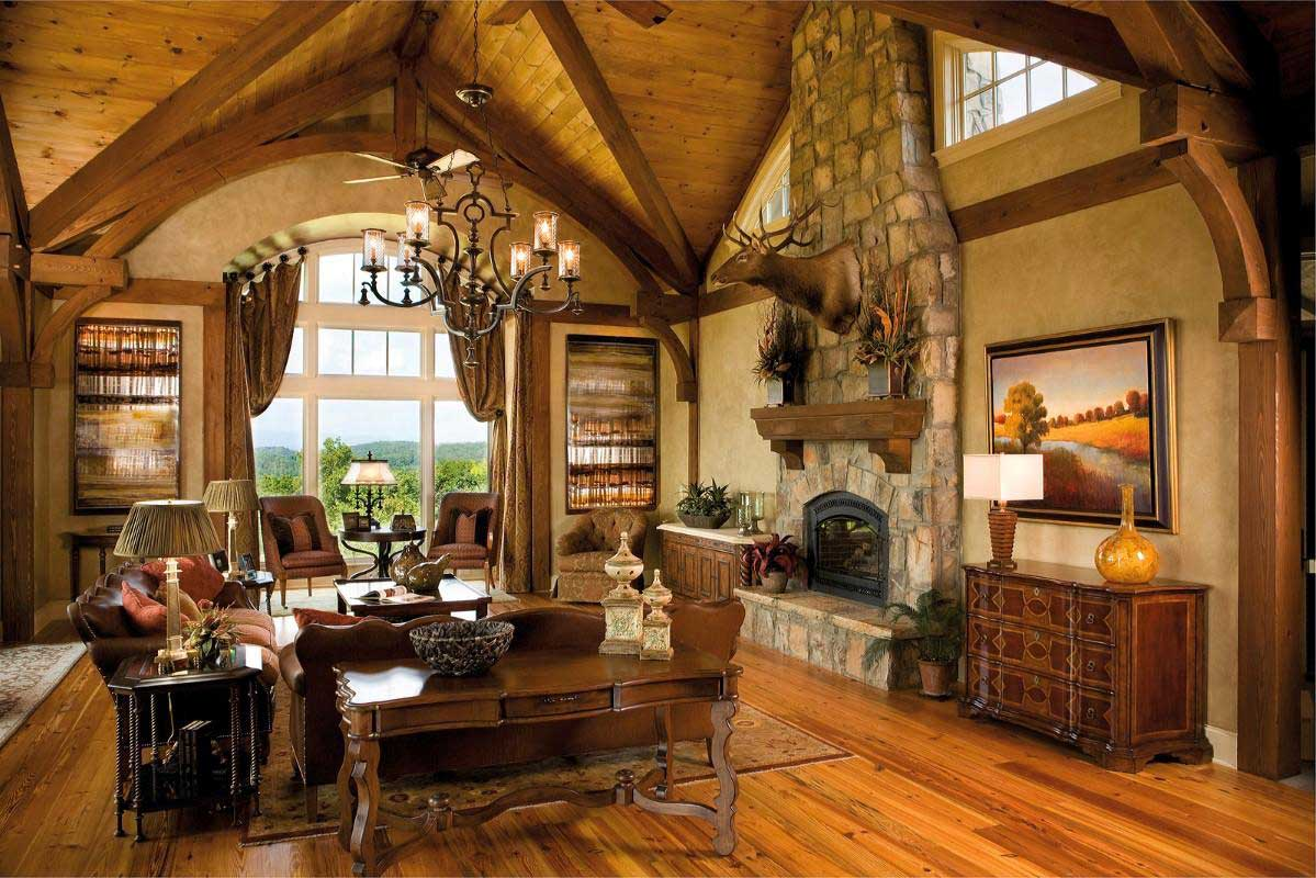 rustic living room with traditional candle chandeliers