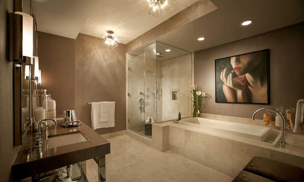contemporary bathroom with glass pendant ceiling lights