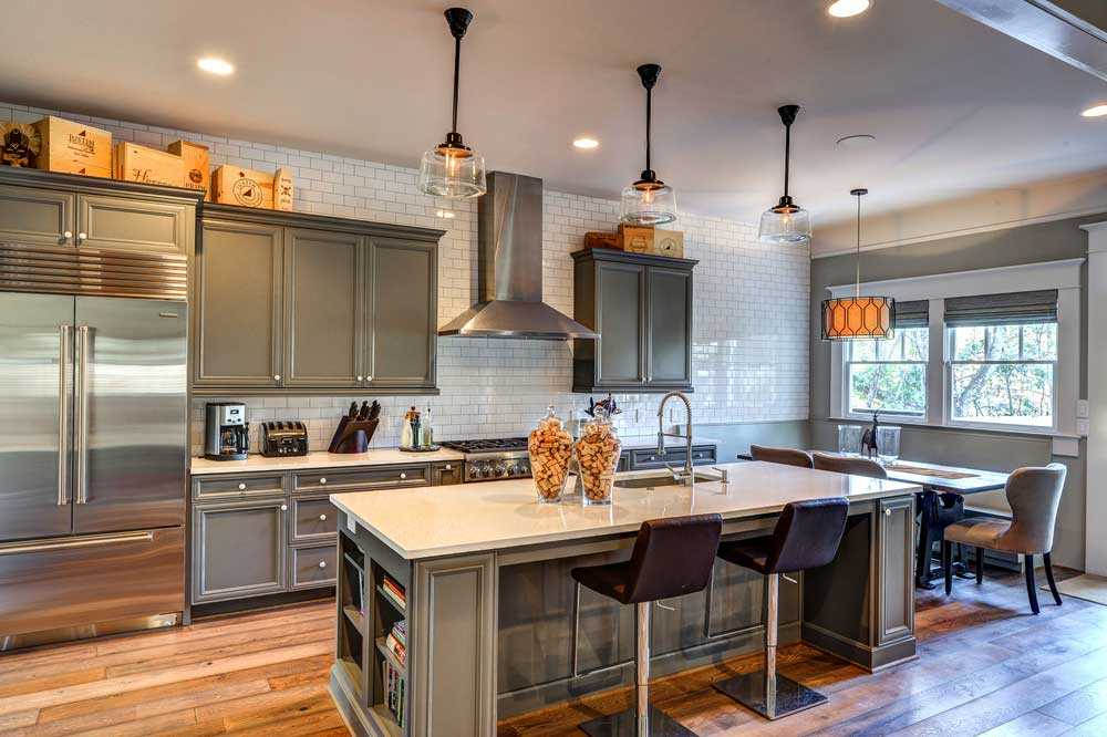 kitchen with glass dome pendant lights
