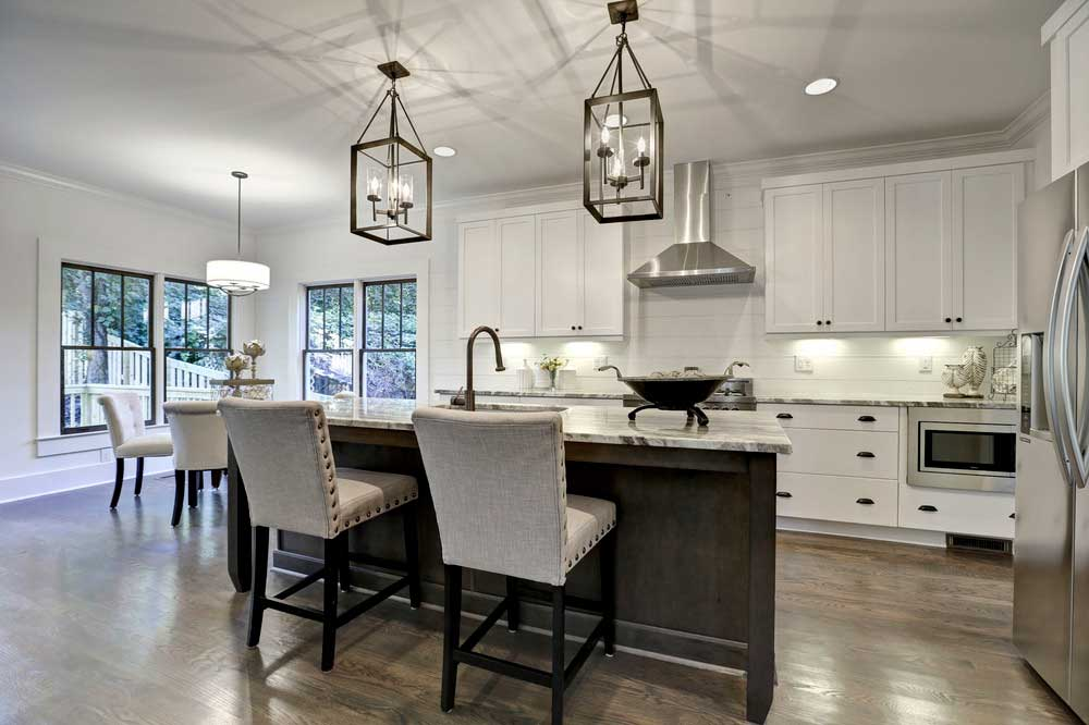 kitchen with lantern pendant light fixtures