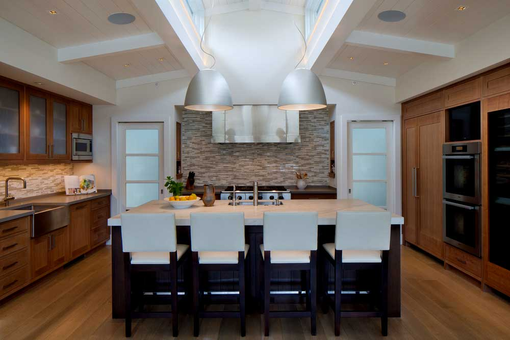 kitchen with gray dome pendant lights