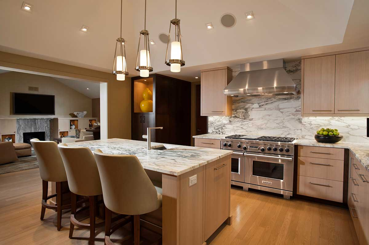 kitchen with cylinder pendant lights