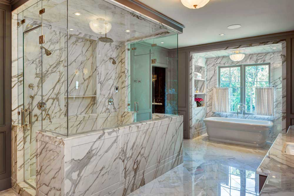 luxury bathroom with drum ceiling light