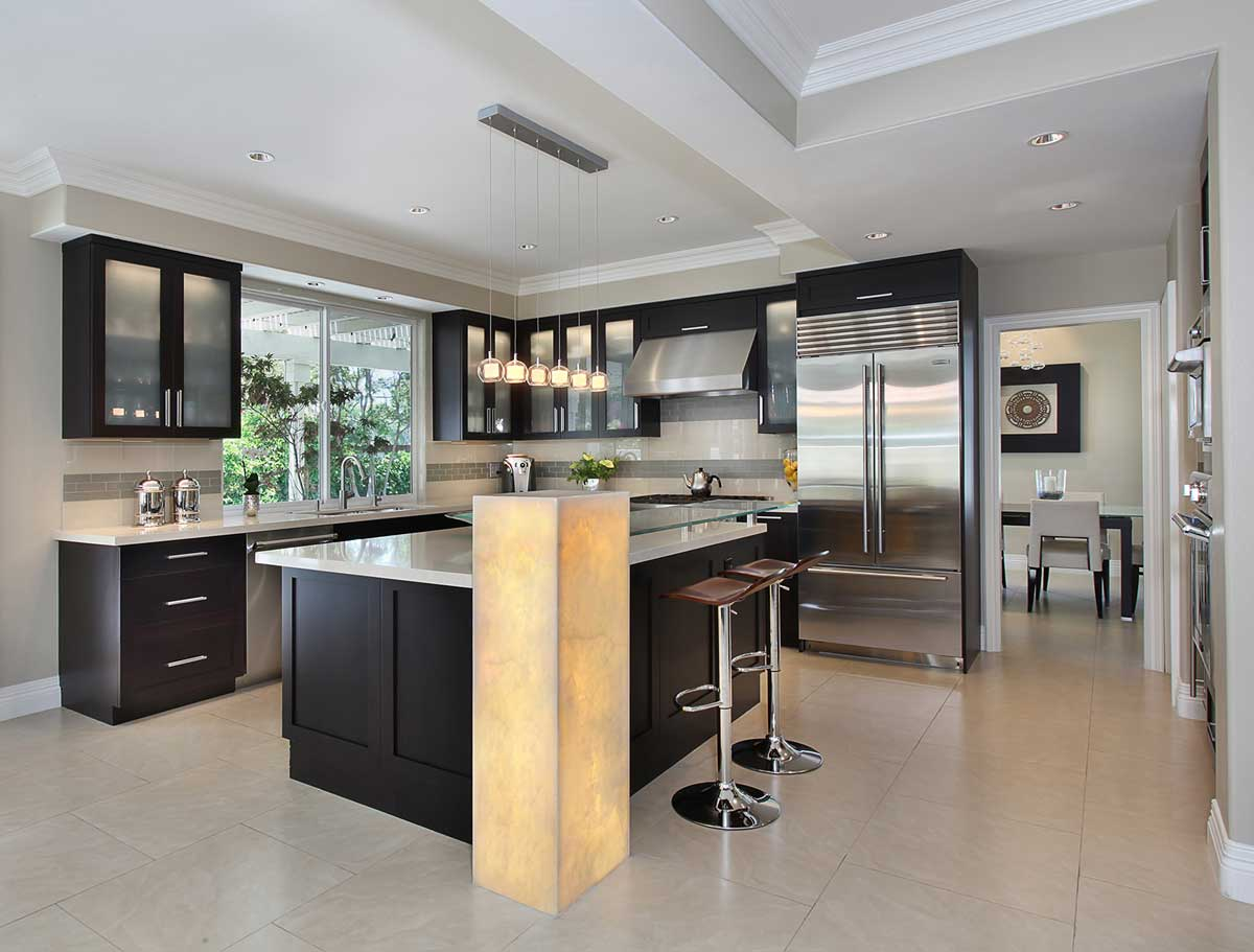 kitchen with clear glass mini pendant lights