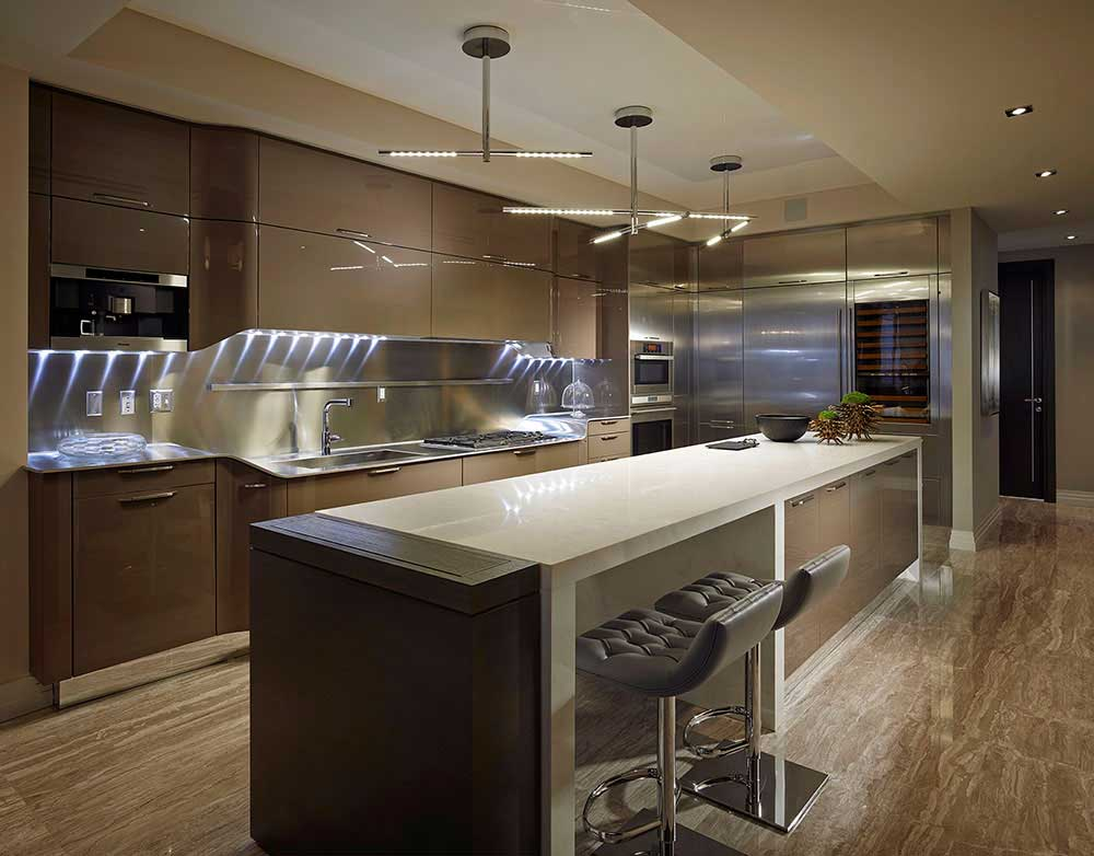 kitchen with modern led branch pendant light
