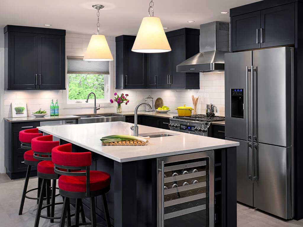 black kitchen with white dome pendant lights