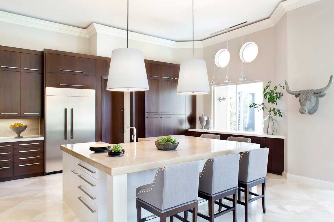 kitchen with large white pendant lights