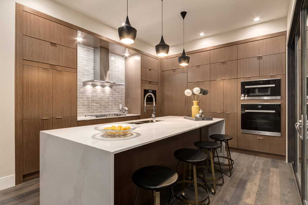 kitchen with matte black pendant lights