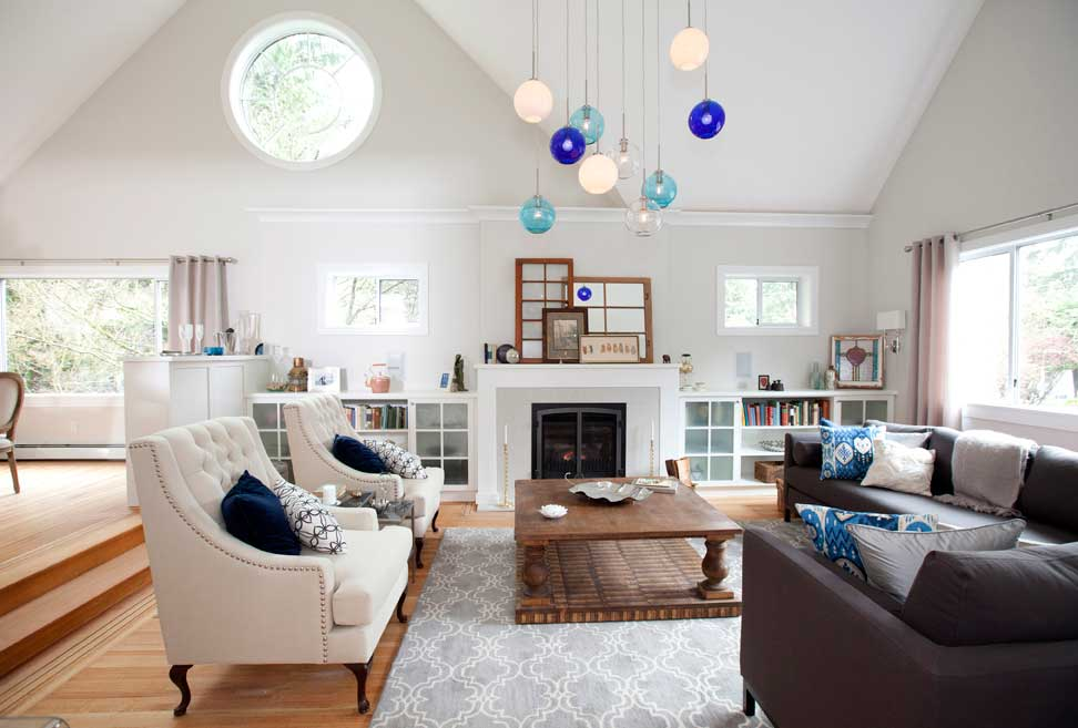 living room with colorful pendant light fixtures