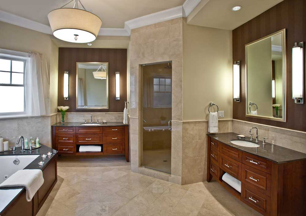 master bathroom with drum shade pendant light and wall sconce