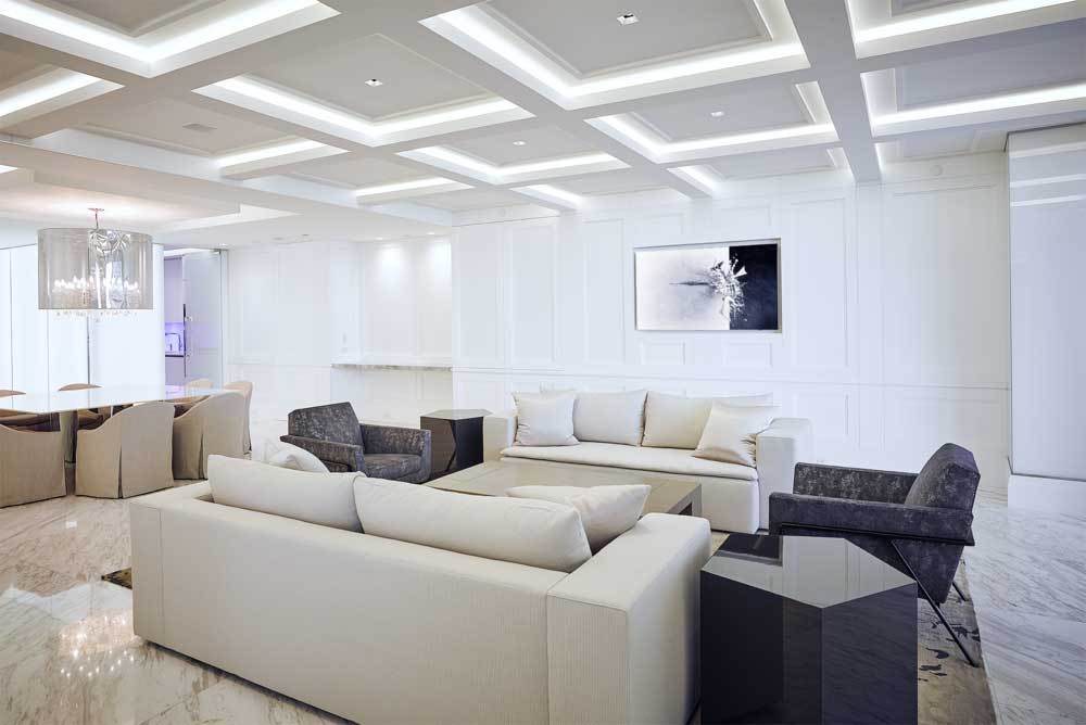 contemporary living room with led strip ceiling lights