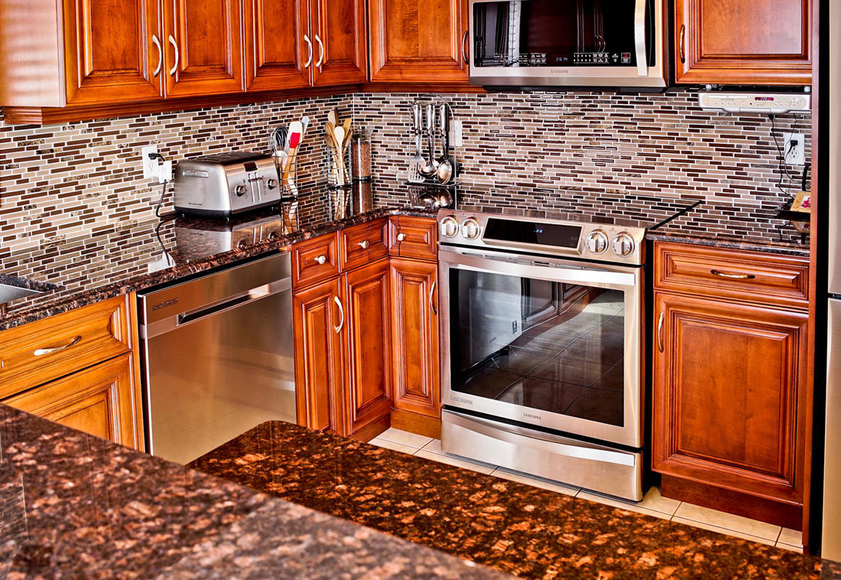 Backsplash ideas for tan brown granite countertops
