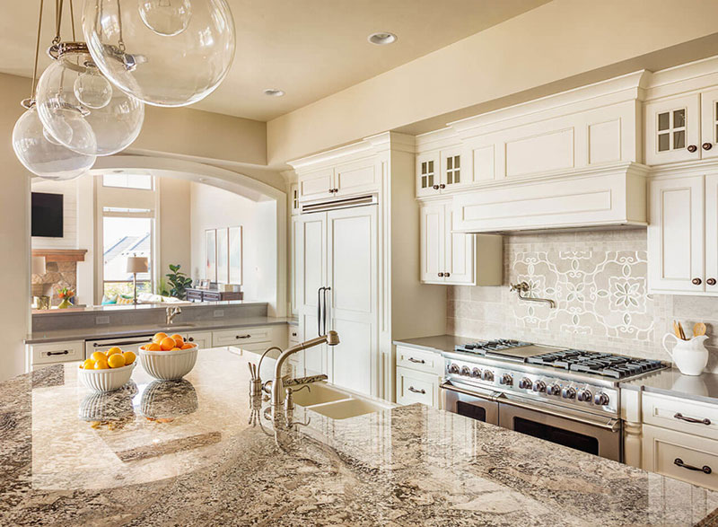 White Kitchen Cabinet Bianco Antico Granite Countertops Design Ideas