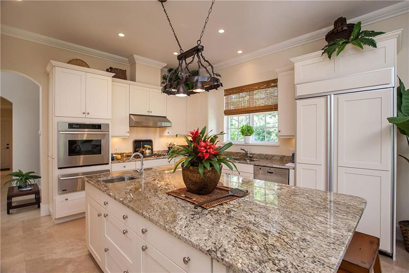 White Kitchen With Bianco Antico Countertops