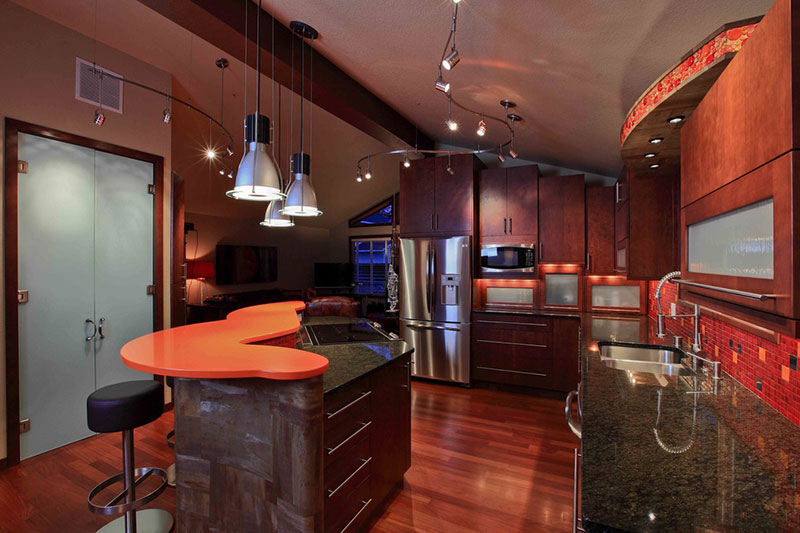 Contemporary kitchen with uba tuba countertops