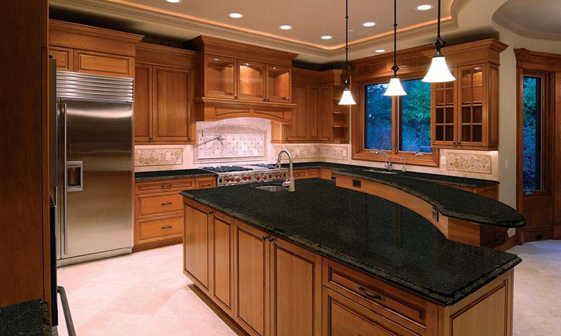 Kitchen island with uba tuba granite