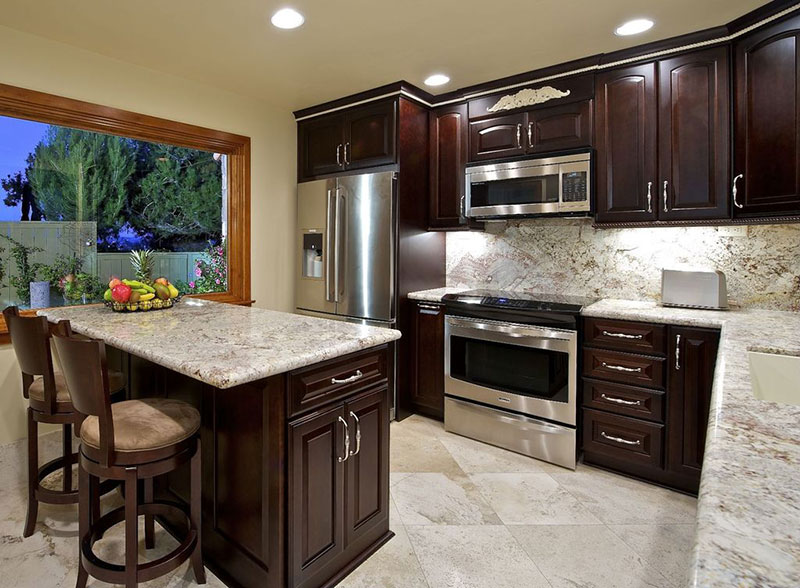 Bianco antico granite countertops and backsplash