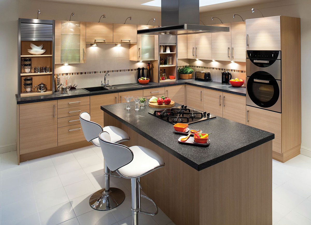 Modern kitchen with black granite countertops