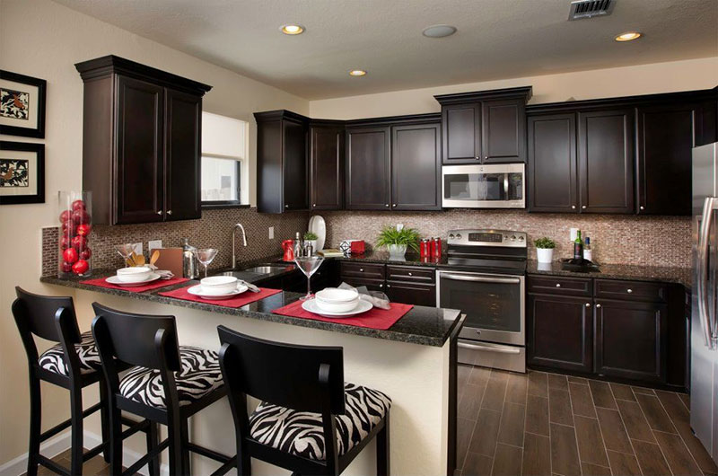 Dark kitchen cabinets with black pearl granite countertops