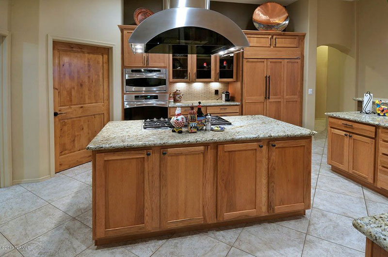 Alaska white granite with maple cabinets