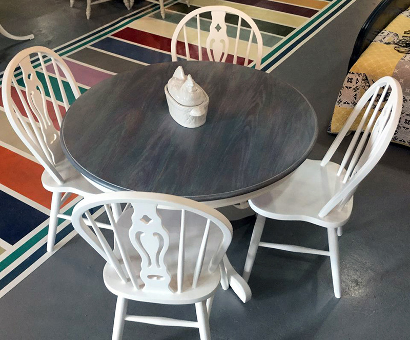 08 Gray wood stain round table