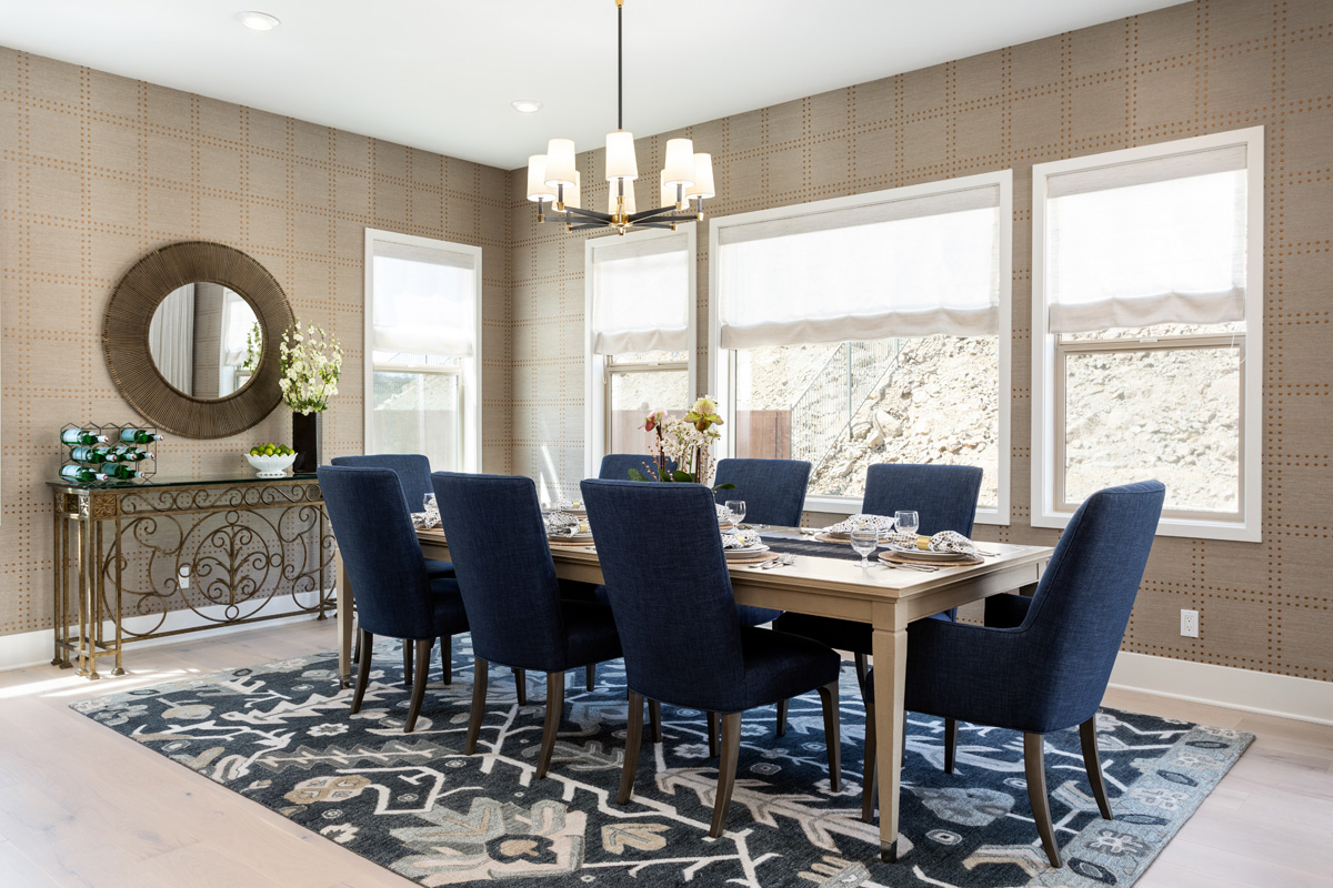dining room with southwest rug