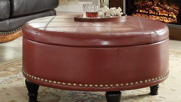 Round Leather Storage Ottoman Coffee Tables