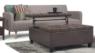 Square Leather Storage Ottoman Coffee Tables