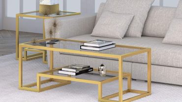 Gold and Glass Coffee Tables